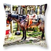 Rodeo Horse Three Throw Pillow