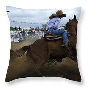 Rodeo Ladies Barrel Race 1 Throw Pillow