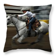 Rodeo Riding A Hurricane 1 Throw Pillow