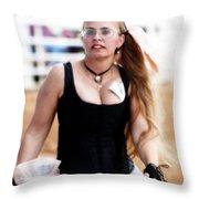 Rodeo Saloon Girl Dancing Throw Pillow