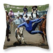 Rodeo Steer Wrestling Throw Pillow
