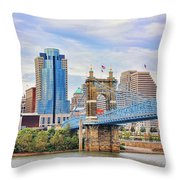 Roebling Bridge And Downtown Cincinnati 9850 Throw Pillow