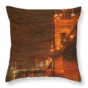 Roebling Bridge Stone N Wood Throw Pillow