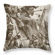 Rogers Got In, Helped Up By Lieutenant Throw Pillow by William Heysham Overend
