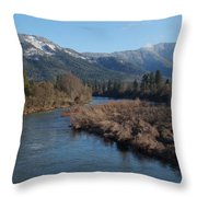 Rogue River And Mt Baldy In Winter Throw Pillow