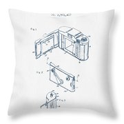 Roll Film Camera Patent From 1952- Blue Ink Throw Pillow