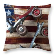 Rollar Skates With Wooden Flag Throw Pillow