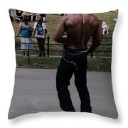 Roller Skating In The Park Throw Pillow