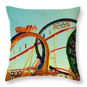 Rollercoaster At The Octoberfest In Munich Throw Pillow