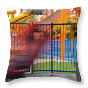 Rollercoasters At Amusement Park Throw Pillow