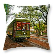 Rollin' Thru New Orleans Painted Throw Pillow