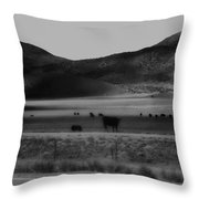 Rolling Hills And Cattle In Black And White Throw Pillow