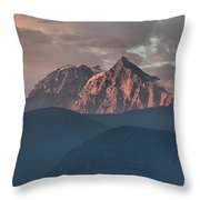 Rolling Hills And Purple Tantalus Peaks Throw Pillow