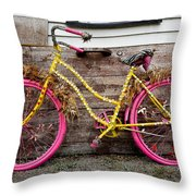 Rolling On Pink Throw Pillow