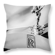 Rolls-royce Hood Ornament -782bw Throw Pillow