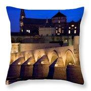 Roman Bridge And Mezquita In Cordoba At Dawn Throw Pillow
