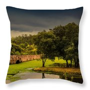 Roman Bridge By The Lake Throw Pillow