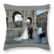 Roman Colosseum Bride And Groom Throw Pillow