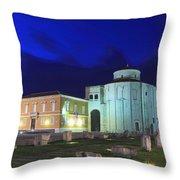 Roman Forum And St Donatus Church At Night Zadar Croatia Throw Pillow
