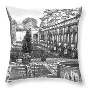 Roman Gardens In The Fall - Bw Throw Pillow