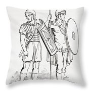 Roman Infantry Soldiers, After Figures On Trajans Column.  From The Imperial Bible Dictionary Throw Pillow