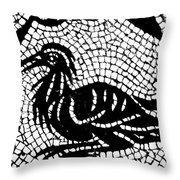 Roman Mosaic Bird Throw Pillow by Mair Hunt