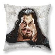 Roman Reigns Caricature By Gbs Throw Pillow