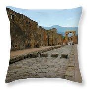 Roman Street In Pompeii Throw Pillow