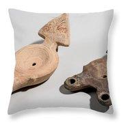 Roman Terracotta Oil Lamps Throw Pillow by Ilan Amihai
