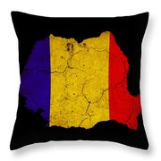 Romania Grunge Map Outline With Flag Throw Pillow