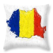 Romania Painted Flag Map Throw Pillow