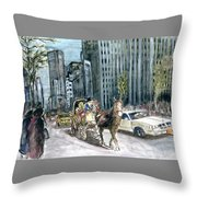 New York 5th Avenue Ride - Fine Art Throw Pillow