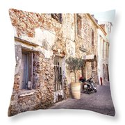Romantic Chania Street Throw Pillow