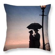 Romantic Couple Under A Street Lamp At Sunset Throw Pillow