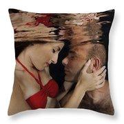 Romantic Couple Underwater Throw Pillow