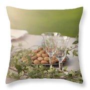 Romantic Garden Table Setting Throw Pillow