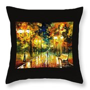 Romantic Lights - Palette Knife Oil Painting On Canvas By Leonid Afremov Throw Pillow