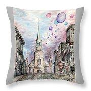 Romantic Montreal Canada - Watercolor Pencil Throw Pillow