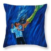 Romantic Rescue Throw Pillow by Leslie Allen