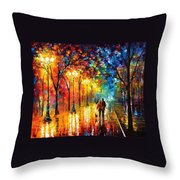 Romantic Stroll - Palette Knlfe Oil Painting On Canvas By Leonid Afremov Throw Pillow