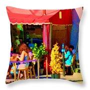Romantic Terrace Dinner Date Piazzetta Bistro Rue St Denis French Cafe Street Scene Carole Spandau  Throw Pillow
