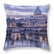 Rome And The River Tiber At Dusk Throw Pillow