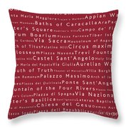 Rome In Words Red Throw Pillow