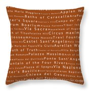 Rome In Words Toffee Throw Pillow