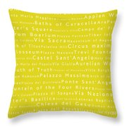 Rome In Words Yellow Throw Pillow