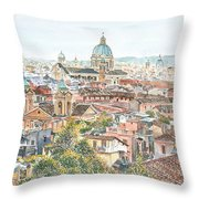 Rome Overview From The Borghese Gardens Throw Pillow by Anthony Butera