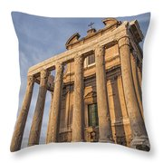 Rome Temple Of Antoninus And Faustina 01 Throw Pillow