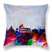 Rome Watercolor Skyline Throw Pillow