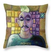 Romeo, 1970 Acrylic & Metal Leaf On Canvas Throw Pillow