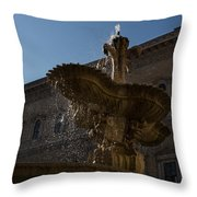 Rome's Fabulous Fountains - Piazza Farnese Fountain Throw Pillow